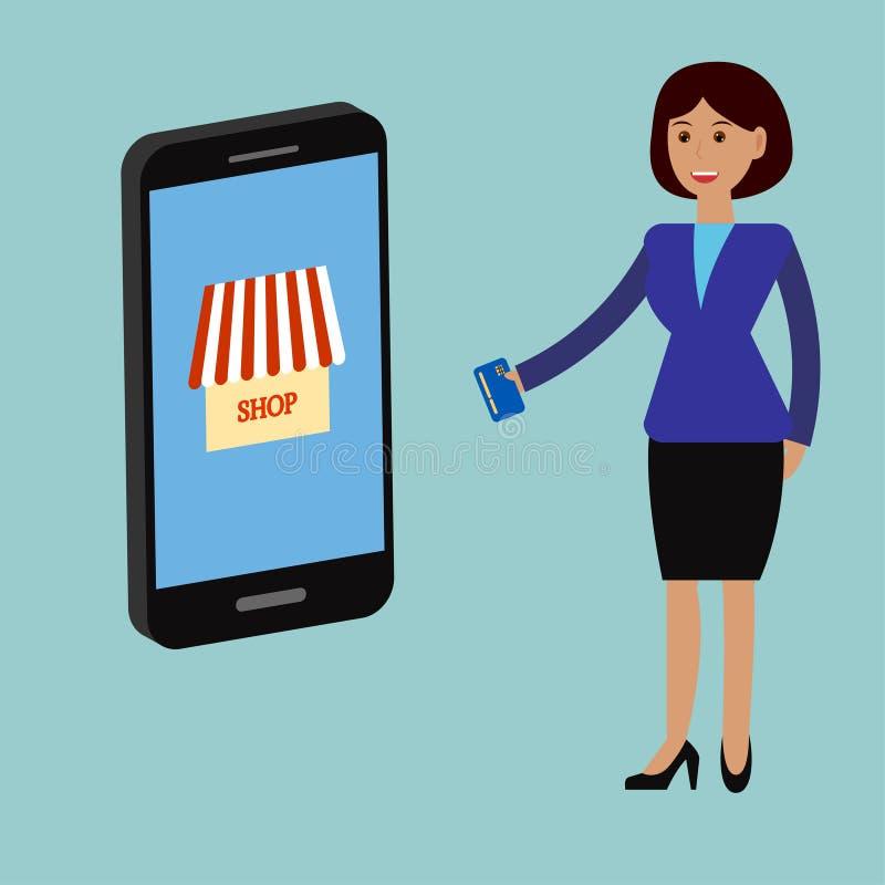 Donna di affari, acquisto online 2 illustrazione di stock