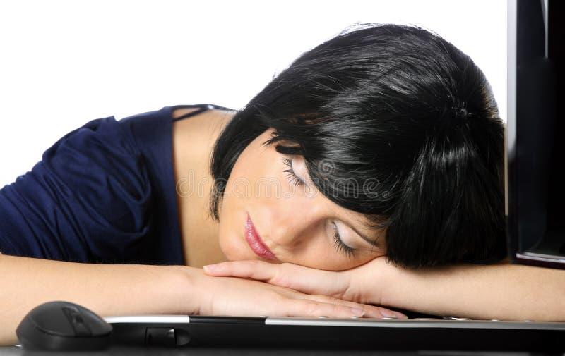 Donna di affari addormentata fotografie stock libere da diritti