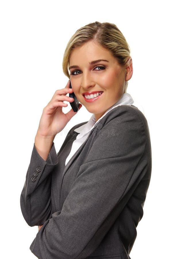Donna di affari allegra immagini stock libere da diritti
