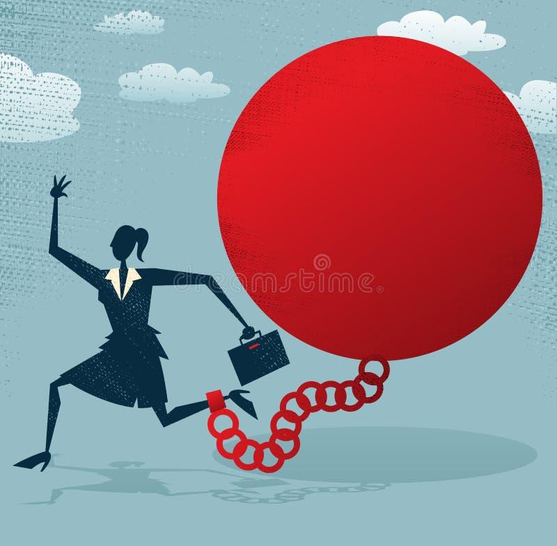 Donna di affari astratta bloccata in una palla al piede. illustrazione di stock