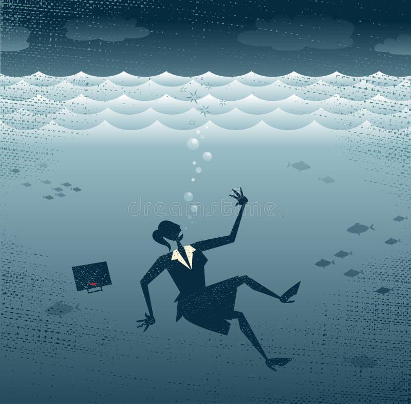 Donna di affari astratta Drowning. illustrazione di stock