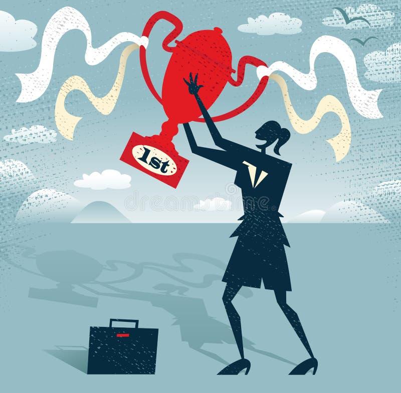 Donna di affari astratta Holds il trofeo dei vincitori. illustrazione vettoriale