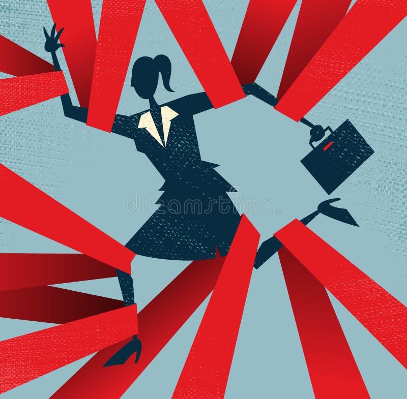 Donna di affari astratta presa in burocrazia. illustrazione di stock