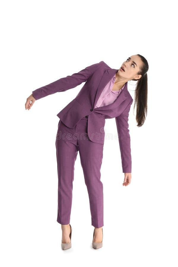 Donna di affari attirata verso il magnete immagine stock