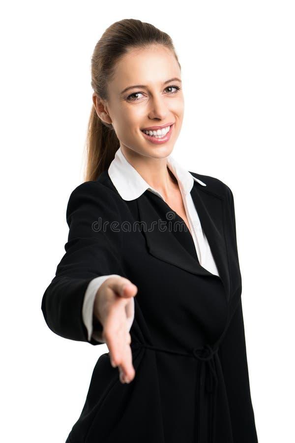 Donna di affari attraente pronta a stringere le mani immagine stock libera da diritti