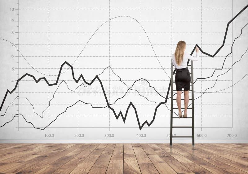 Donna di affari bionda sulla scala, grafici fotografia stock