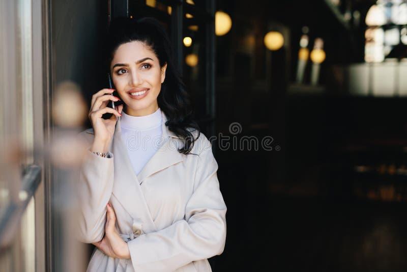Donna di affari castana elegante con gli occhi scuri e i dres completi delle labbra fotografia stock libera da diritti