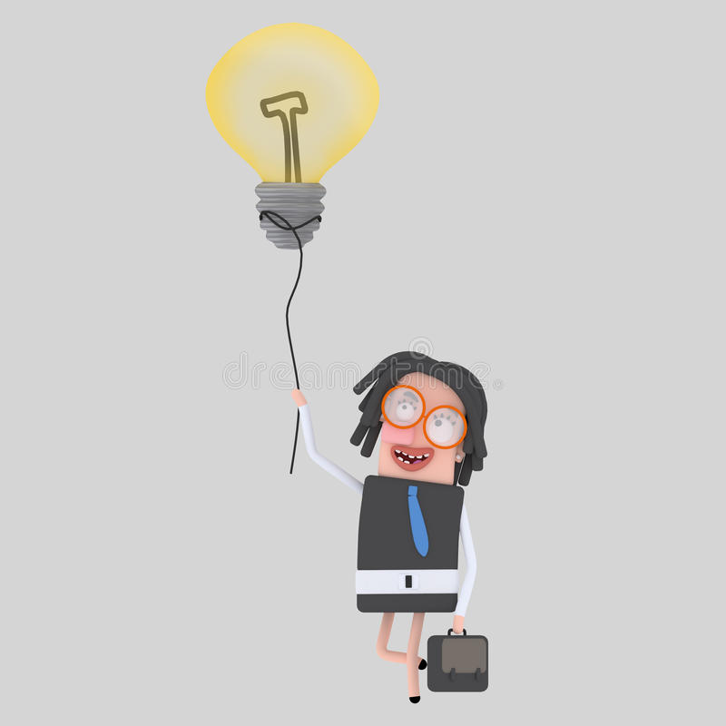 Donna di affari che cammina con la sua grande idea illustrazione di stock