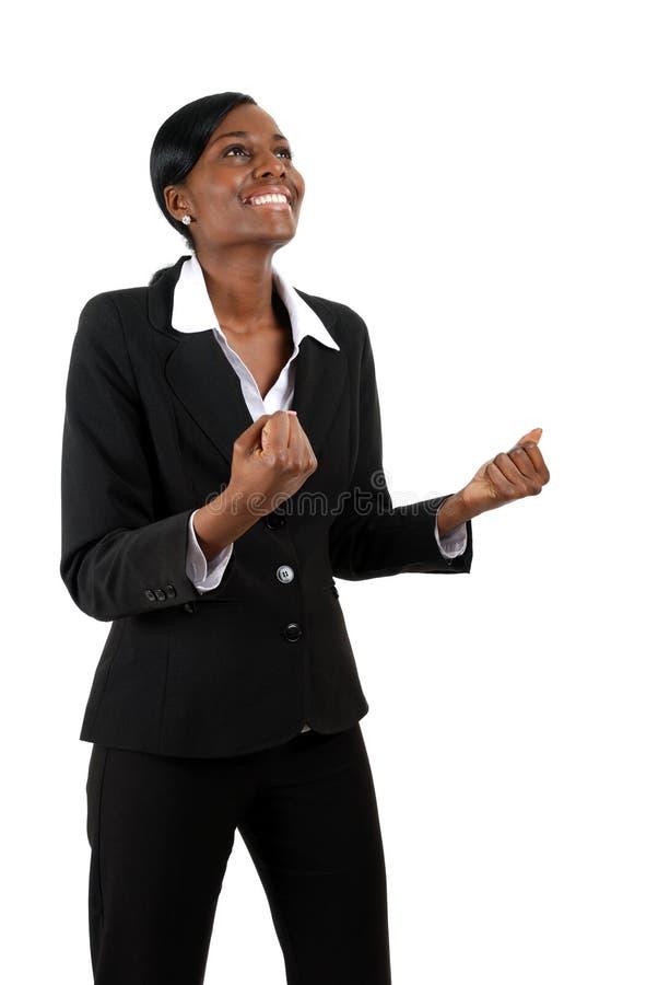 Donna di affari che celebra successo immagini stock