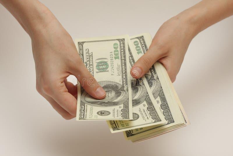 Donna di affari che conta i dollari fotografia stock libera da diritti