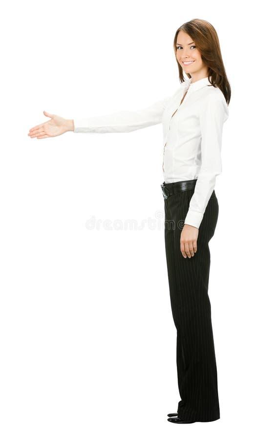 Donna di affari che dà mano, su bianco fotografie stock