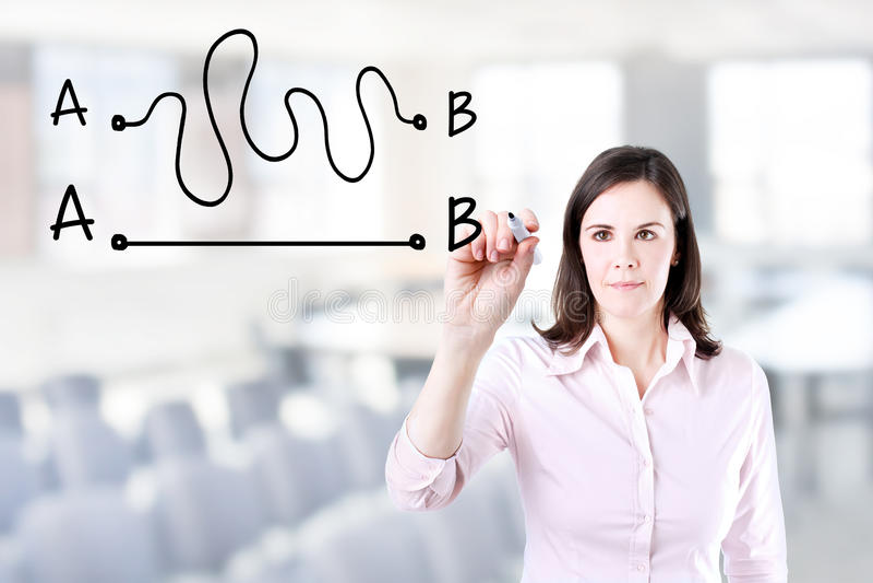 Donna di affari che disegna un concetto circa l'importanza di individuazione del modo più breve muoversi da punto A per indicare  immagini stock