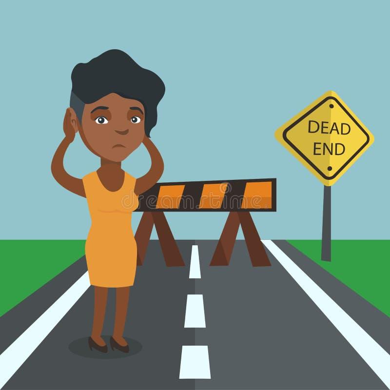 Donna di affari che esamina il vicolo cieco del segnale stradale illustrazione di stock