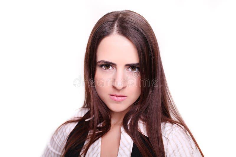 Donna di affari che esamina la macchina fotografica fotografia stock