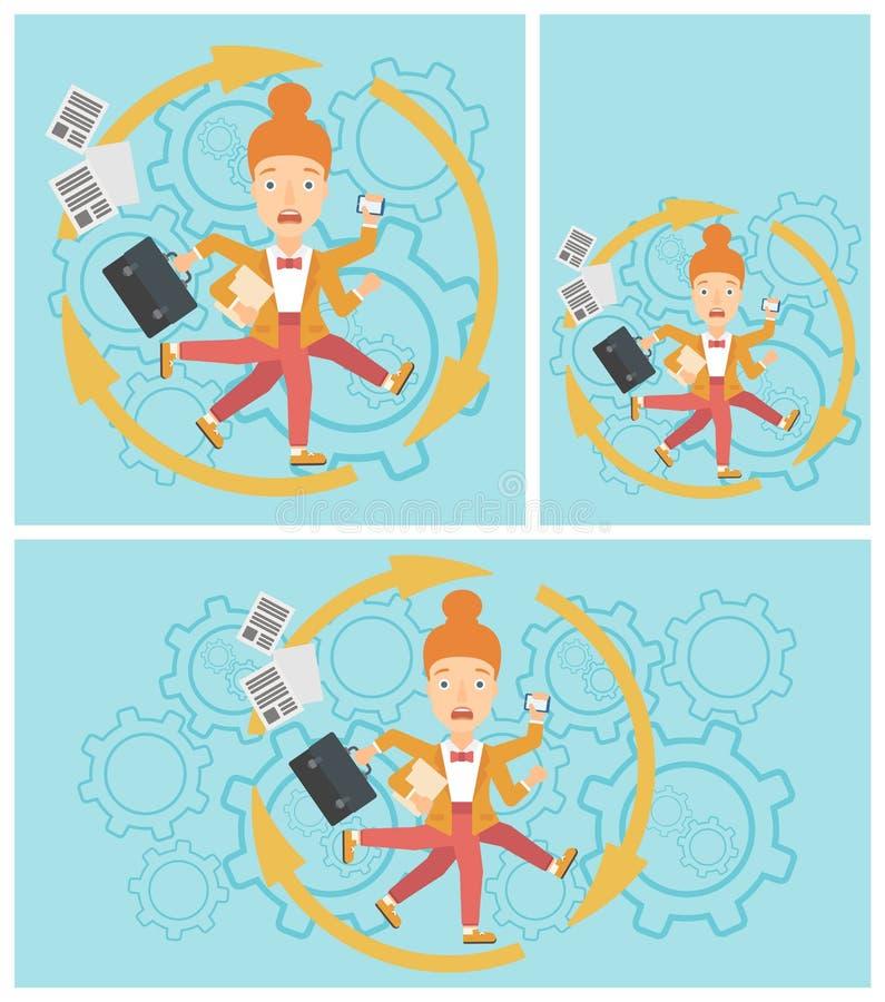 Donna di affari che fa fronte all'elaborazione multitask illustrazione vettoriale