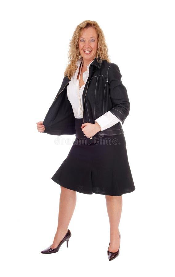 Donna di affari che guarda molto felice fotografie stock libere da diritti