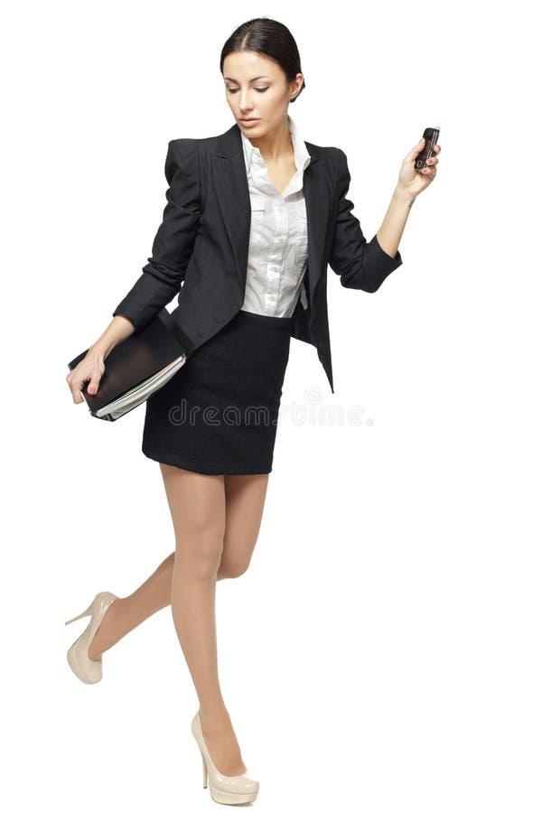 Donna di affari che hurring immagine stock