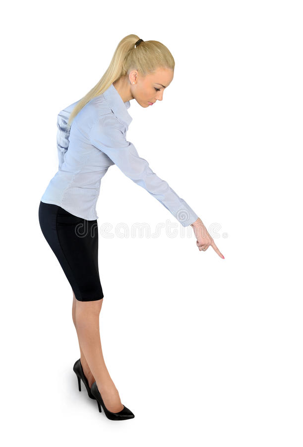 Donna di affari che indica giù immagini stock