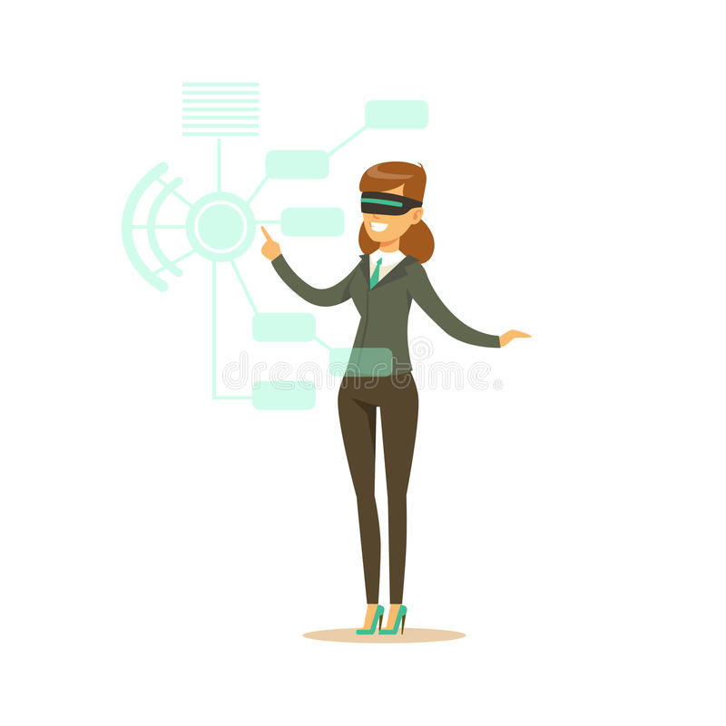 Donna di affari che indossa la cuffia avricolare di VR che funziona nella simulazione digitale, illustrazione futura di vettore d illustrazione di stock