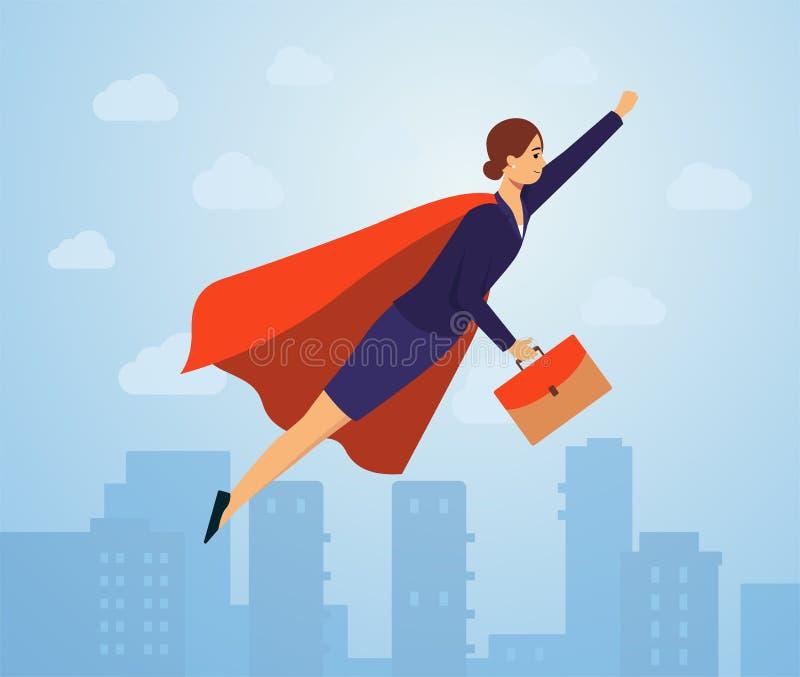 Donna di affari che indossa volo rosso del capo come illustrazione piana di vettore del supereroe illustrazione vettoriale