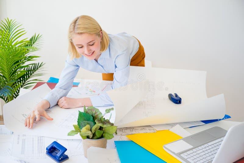 Donna di affari che lavora ad un progetto fotografie stock