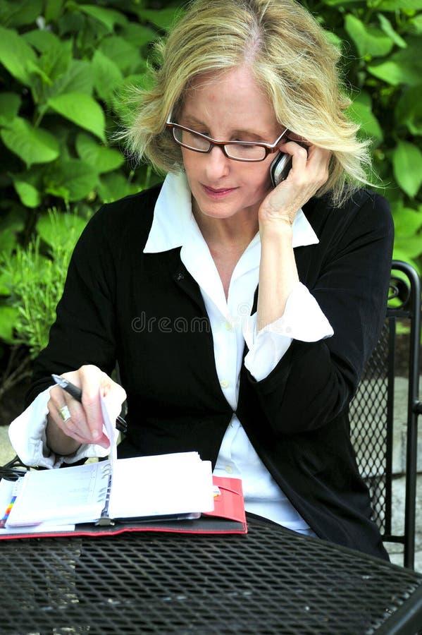 Donna di affari che lavora fuori immagini stock
