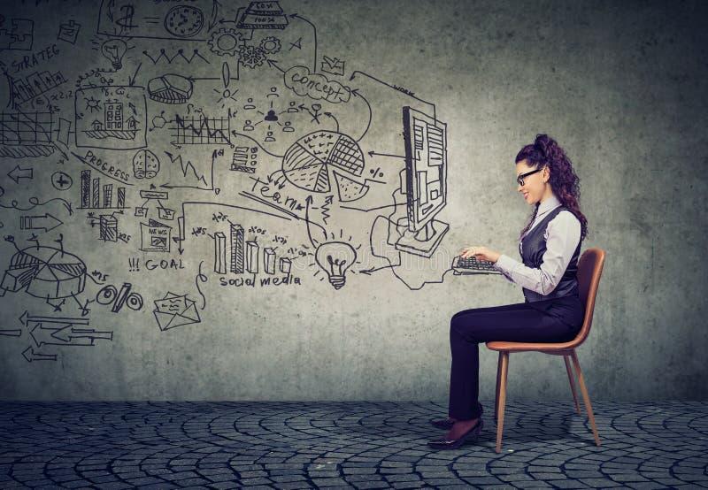 Donna di affari che lavora in un business plan di 'brainstorming' dell'ufficio fotografia stock libera da diritti