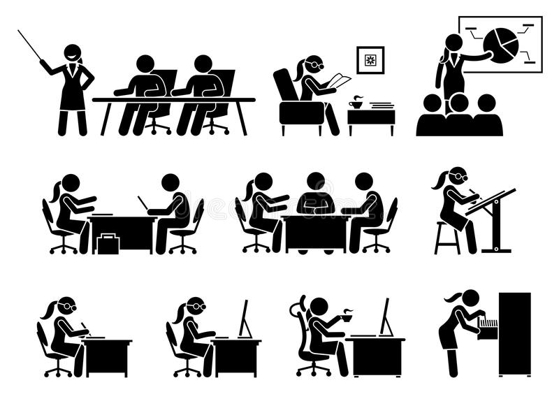Donna di affari che lavora in un ufficio illustrazione vettoriale