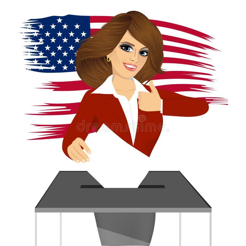 Donna di affari che mette voto in scatola di voto royalty illustrazione gratis