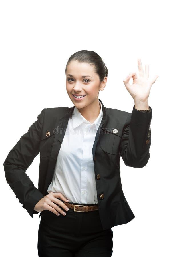 Donna di affari che mostra okay immagini stock libere da diritti