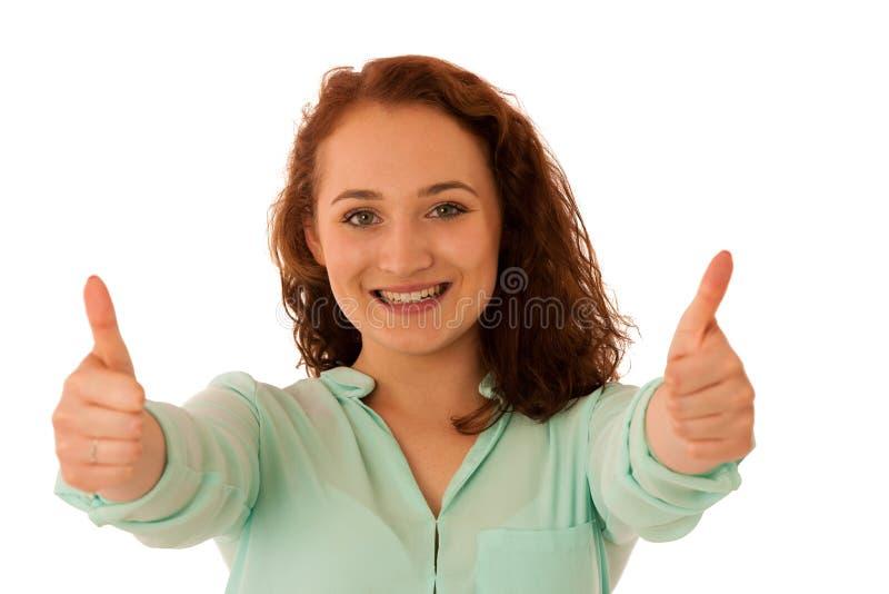 Donna di affari che mostra pollice su come gesto per successo immagini stock libere da diritti