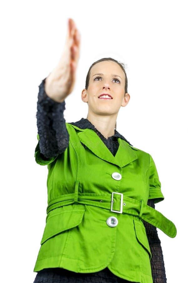 Donna di affari che offre una stretta di mano immagine stock