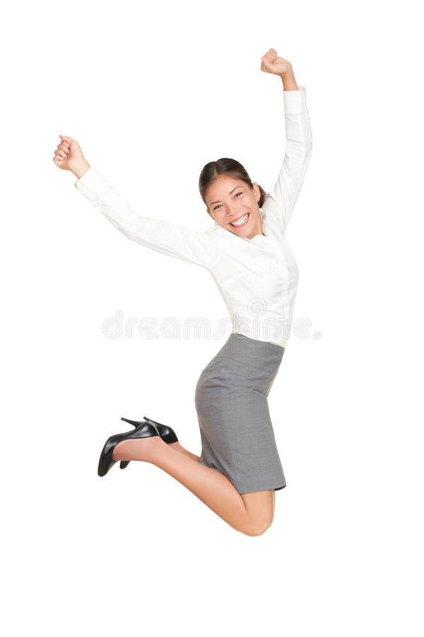 Donna di affari che salta nel successo fotografia stock libera da diritti