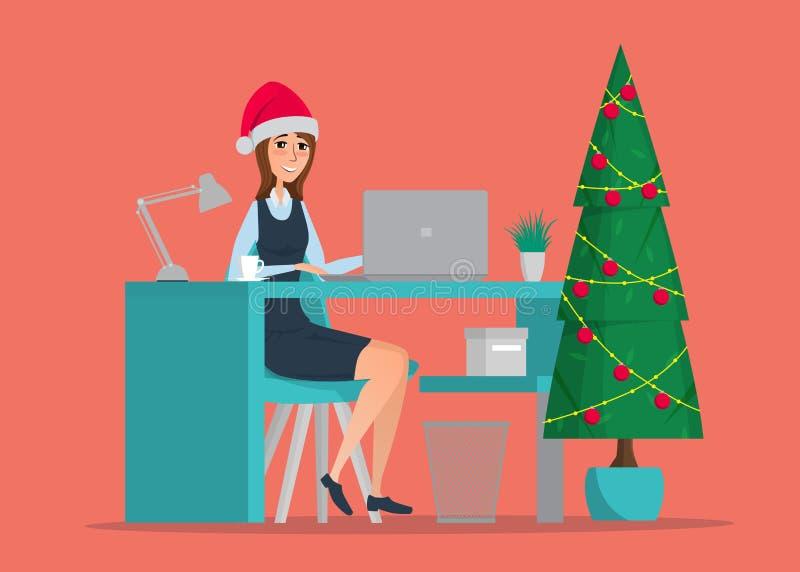 Donna di affari che si siede alla tabella Albero del nuovo anno royalty illustrazione gratis