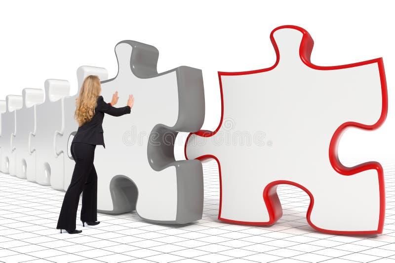 Donna di affari che spinge grande puzzle royalty illustrazione gratis