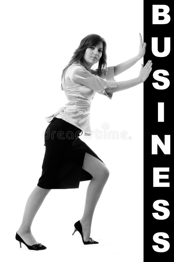 Download Donna Di Affari Che Spinge Qualcosa Immagine Stock - Immagine di proposta, businesswoman: 7316011
