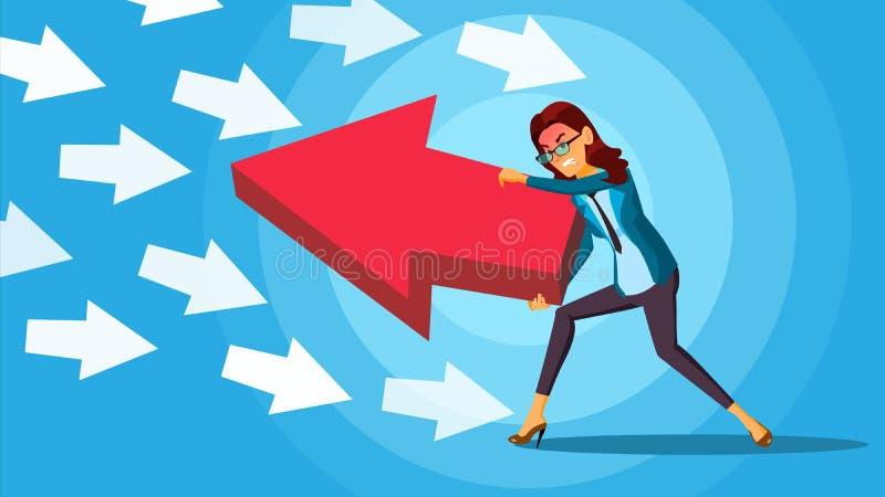Donna di affari che spinge vettore della freccia Concetto avversario Senso opposto Levandosi in piedi fuori dalla folla contro royalty illustrazione gratis