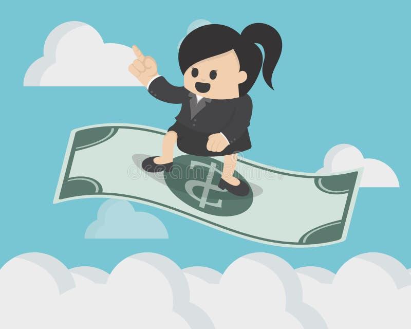 Donna di affari che sta sul dollaro di magia di volo royalty illustrazione gratis