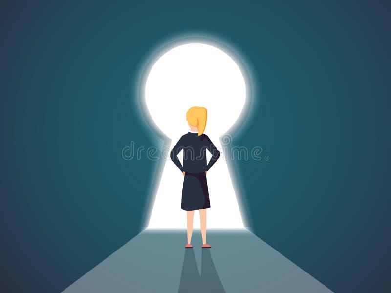 Donna di affari che sta in un concetto del buco della serratura Simbolo di op royalty illustrazione gratis