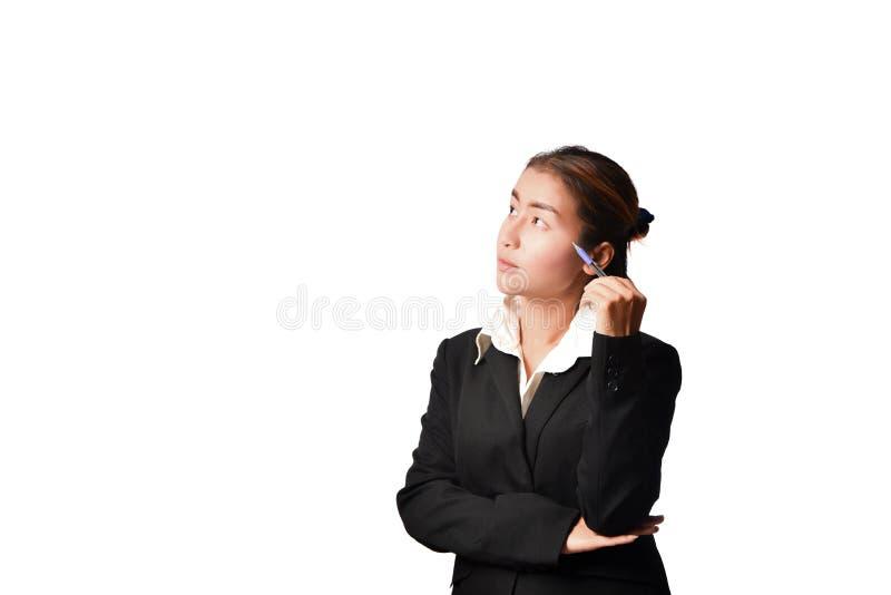 Donna di affari che thining fotografie stock