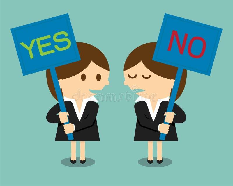 Donna di affari che tiene un'insegna con la parola sì o no royalty illustrazione gratis
