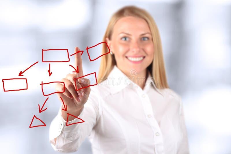 Donna di affari che tocca a mano un grafico virtuale Backgro blu fotografia stock