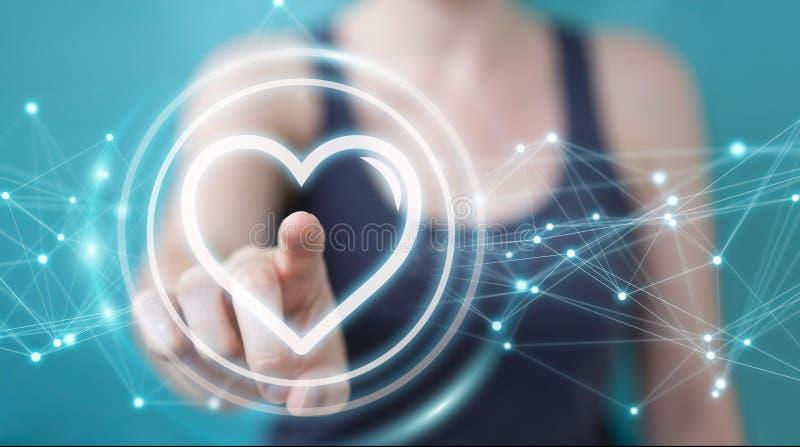 Donna di affari che usando applicazione di datazione per trovare amore 3D online con riferimento a illustrazione di stock