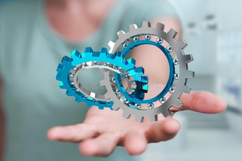 Donna di affari che usando la rappresentazione moderna di galleggiamento del meccanismo di ingranaggio 3D illustrazione di stock