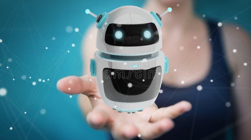 Donna di affari che usando renderi digitale di applicazione 3D del robot del chatbot illustrazione vettoriale