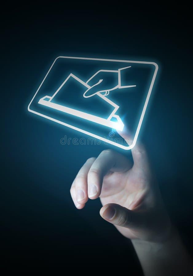 Donna di affari che vota facendo uso della rappresentazione dell'interfaccia digitale 3D royalty illustrazione gratis
