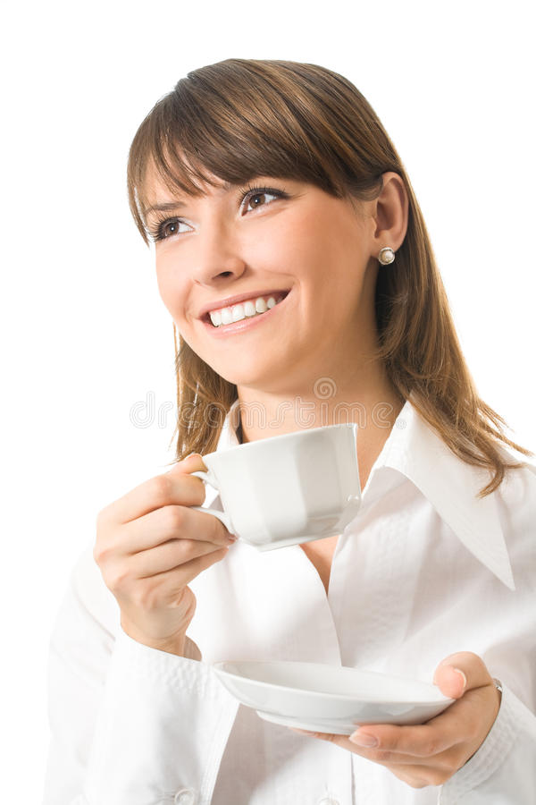 Donna di affari con caffè fotografia stock