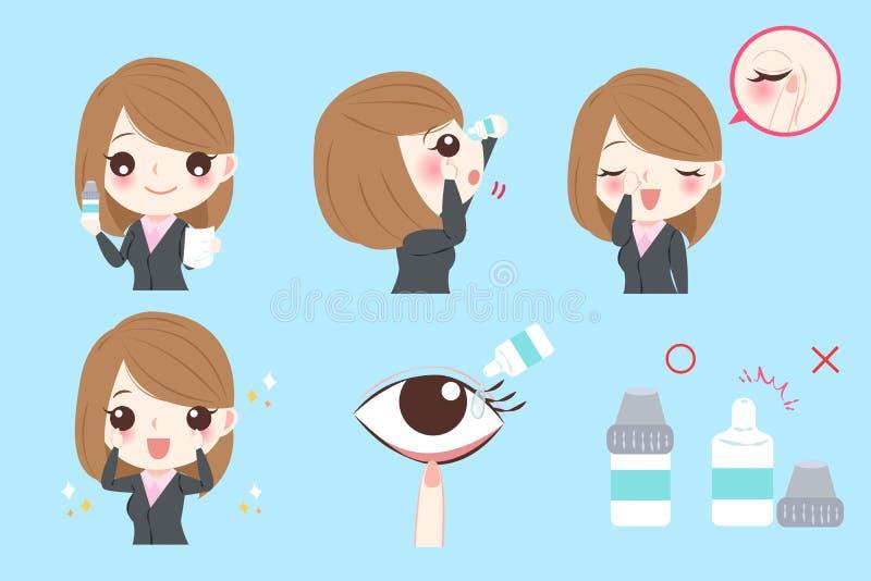 Donna di affari con i collirii illustrazione vettoriale