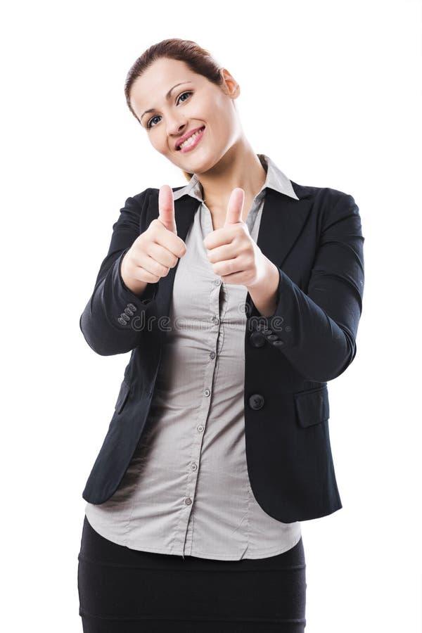 Donna di affari con i pollici in su fotografia stock