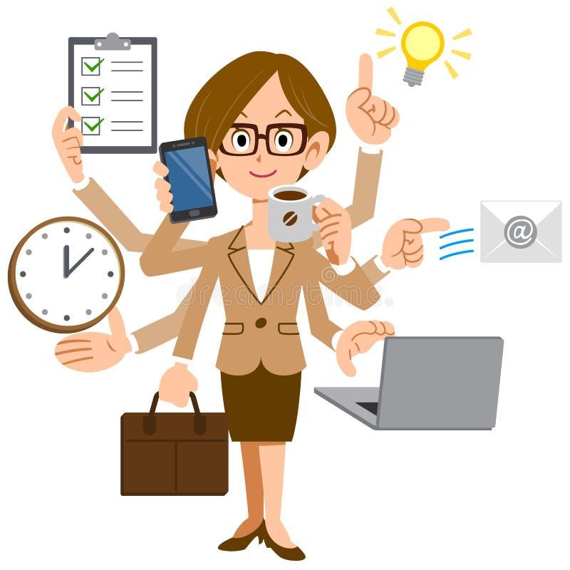Donna di affari con i vetri per eseguire elaborazione multitask illustrazione di stock